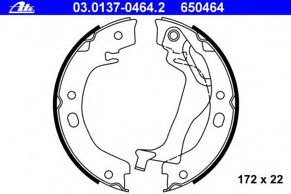 Тормозные колодки барабанные ATE 03013704642