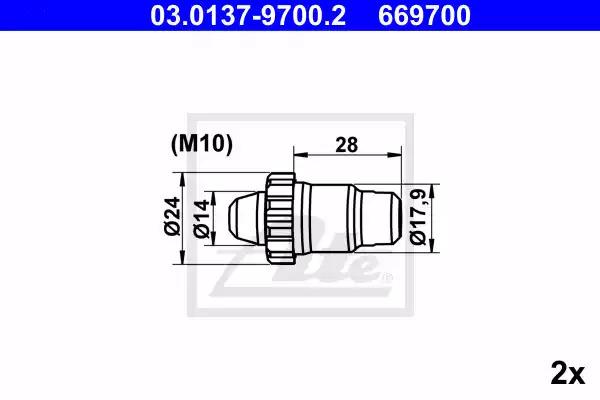 Ремкомплект барабанных колодок ATE 03013797002