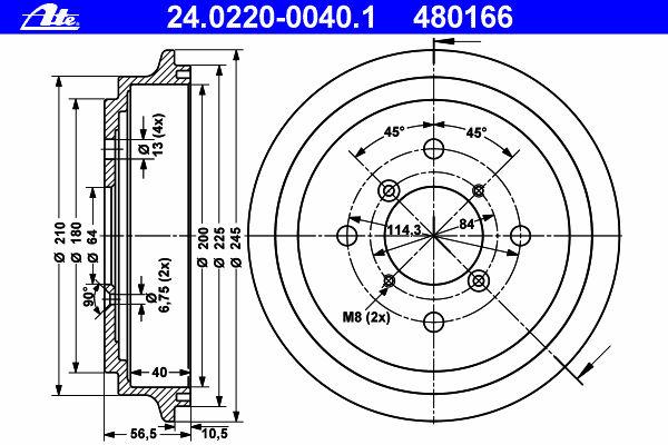 Тормозной барабан ATE 24022000401