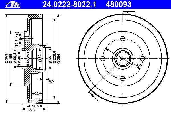 Тормозной барабан ATE 24022280231