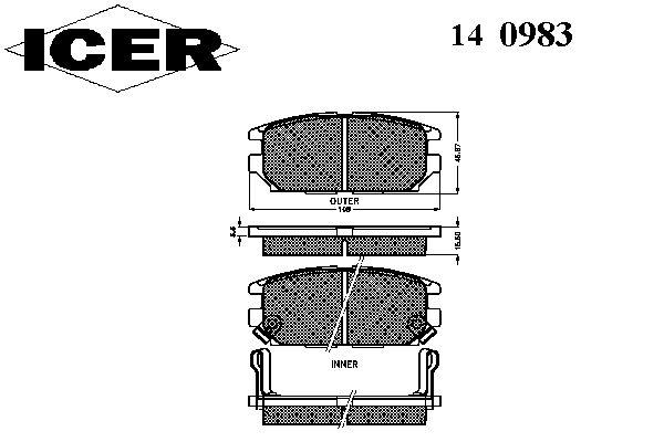 Тормозные колодки ICER 140983