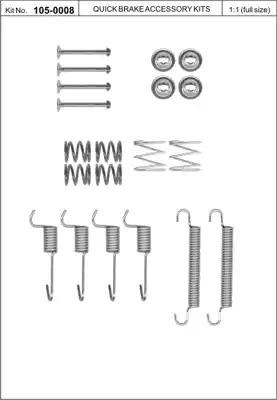 Ремкомплект барабанных колодок KAWE 1050008