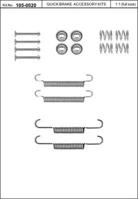 Ремкомплект барабанных колодок KAWE 1050020