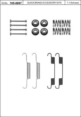Ремкомплект барабанных колодок KAWE 1050897