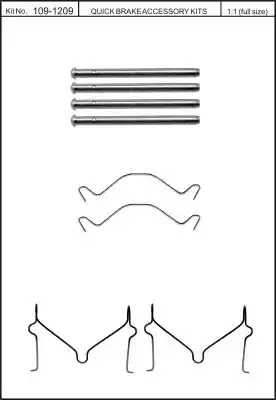 Скобы тормозных колодок KAWE 1091209