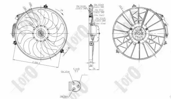 Вентилятор радиатора кондиционера LORO 0040140002