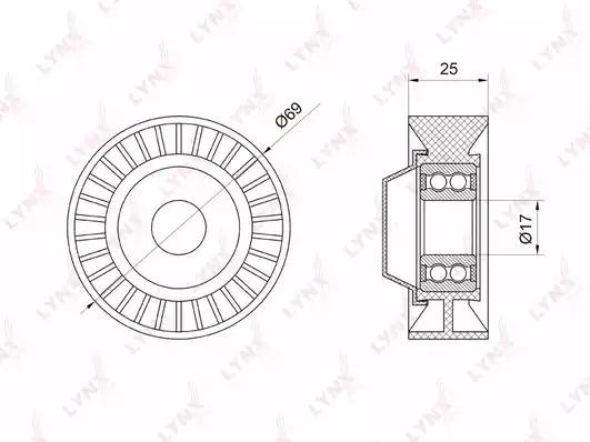 Натяжной ролик ремня ГРМ LYNXauto PB5007