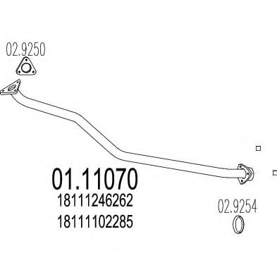 Приемная труба глушителя MTS 0111070