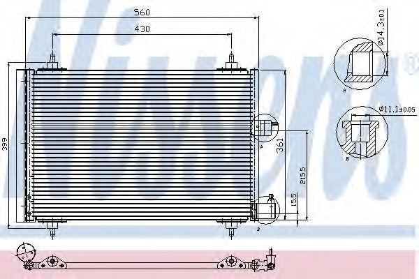 Радиатор кондиционера NISSENS 94542