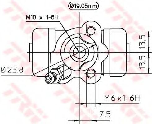 Рабочий тормозной цилиндр TRW BWD266
