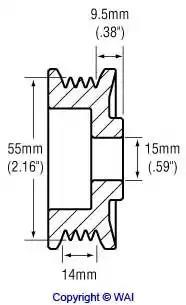 Шкив генератора WAI 2482256