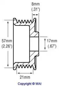 Шкив генератора WAI 2482263