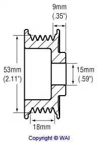 Шкив генератора WAI 2482265