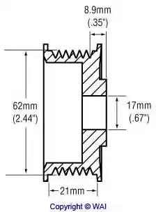 Шкив генератора WAI 2482278