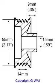 Шкив генератора WAI 2483252